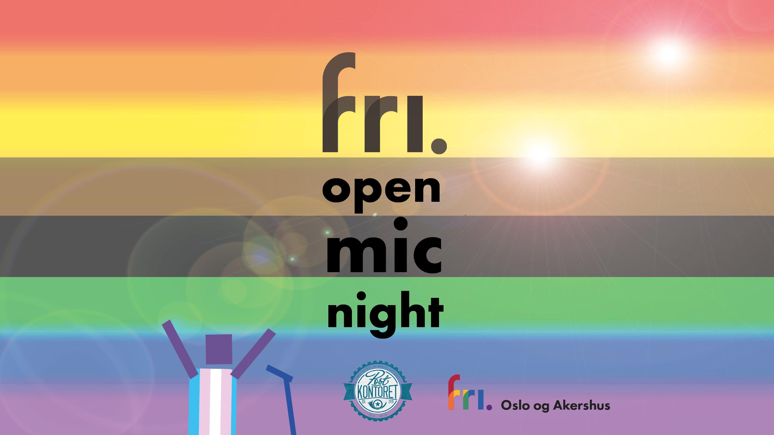 FRI open mic night: Del din komme-ut-historie. Velkommen! Postkontoret - Tøyen - torsdag 11. oktober.