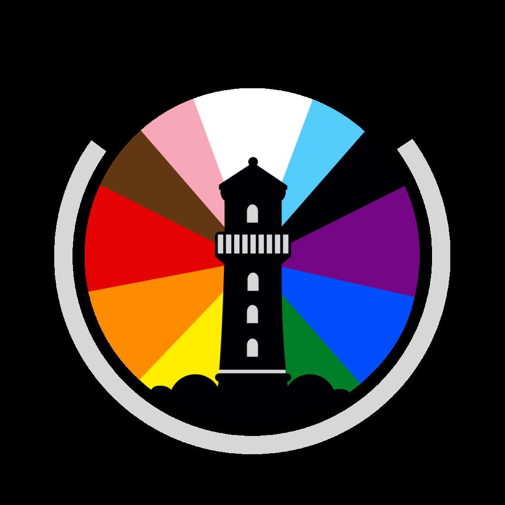 Regnbuefyrtårn - kvalitetsmerke av Skeiv kunnskap i FRI Oslo og Viken. Logo-design: Linda Heggen.