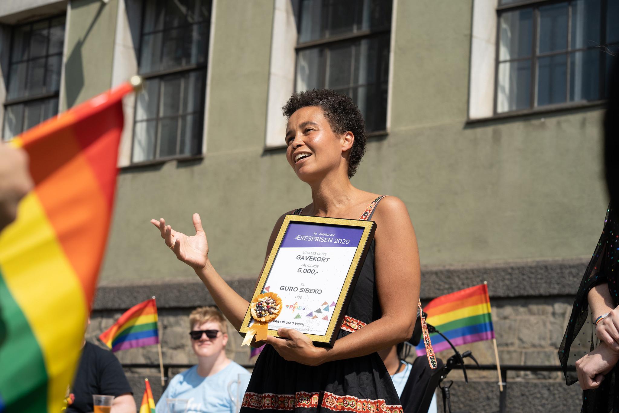 Frydpris 2017 tildelt SKAM under Oslo Pride - her er juryen og fornøyde prisvinnere. Foto: Petter Ruud-Johansen / FRI OA.